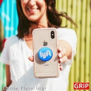 Blue chrome pop phone sockets for promotional product