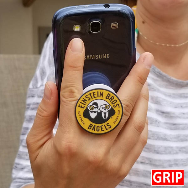 Einstein Bagels logo on a phone grip. Round phone socket grip. Perfect for trade shows and b2b marketing. Free shipping, imprinted with your business logo. Event logo available. Let your logo pop.