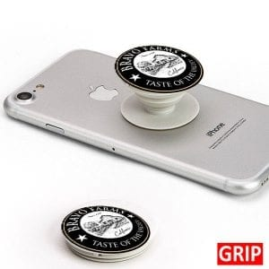Business logo on a phone grip. Round phone socket grip. Perfect for trade shows and b2b marketing. Free shipping, imprinted with your business logo. Event logo available. Let your logo pop.