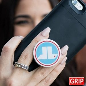 Goose Island Beer. Round phone socket grip. Perfect for trade shows and b2b marketing. Free shipping, imprinted with your business logo. Event logo available. Let your logo pop.