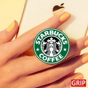 Starbucks phone grip. Round phone socket grip. Perfect for trade shows and b2b marketing. Free shipping, imprinted with your business logo. Event logo available. Let your logo pop.