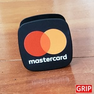 Master Card square pop phone sockets for trade show and business marketing logo