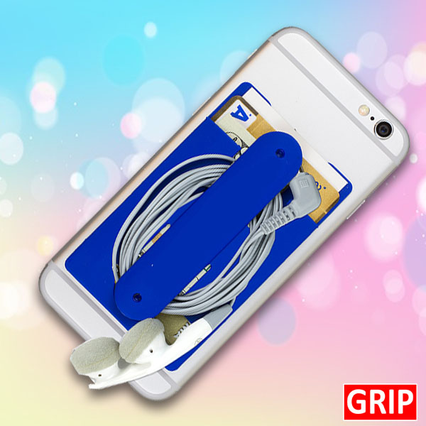 Blue Silicone Phone stand and wallet card holder