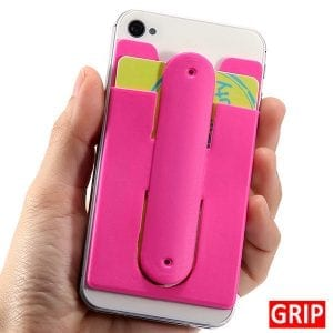 Pink silicone phone wallet and stand with ear bud wrap