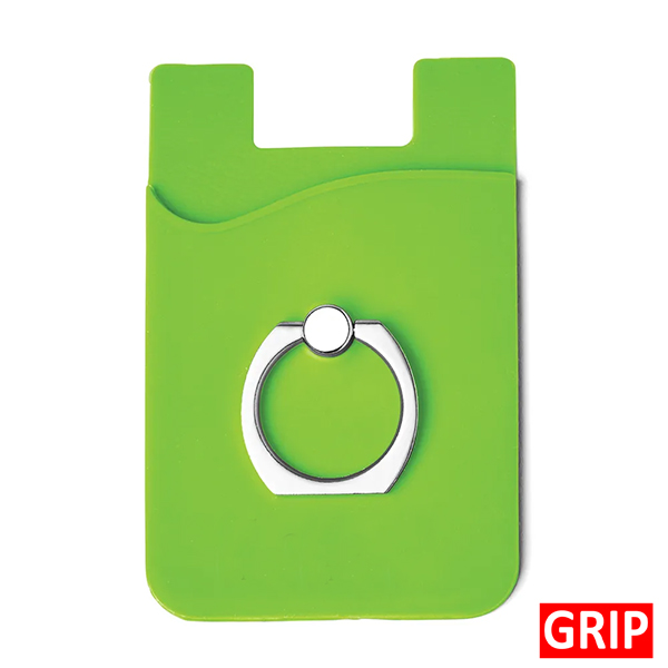 Green Silicone stick on phone wallet with ring holder