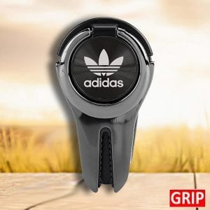 black-car-vent-phone-grip-and-ring-phone-holder-with-laser-engraved-logo-promotional-product and giveaway