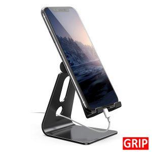black metal aluminum adjustable desktop smartphone stand lamicall