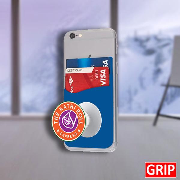 blue pop phone wallet for marketing