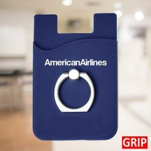 dark navy blue silicone smartphone card holder wallet with ring stand