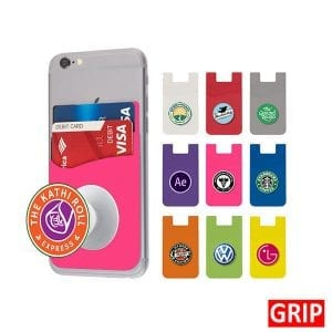 pink pop wallet phone stand silicone promotional marketing giveaway