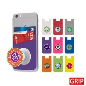 purple pop wallet phone stand silicone promotional marketing giveaway