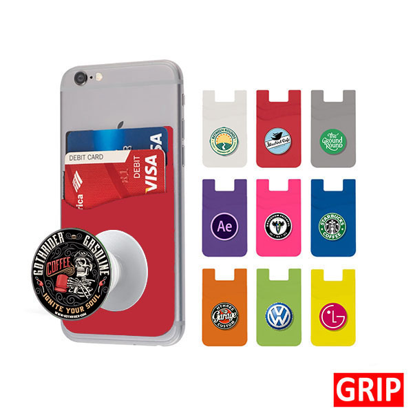 red pop wallet phone stand silicone promotional marketing giveaway