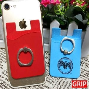 Get your business, event or trade show logo on a silicone stick on phone wallet with phone ring holder. Use it as a stand, or for selfies or for the credit cards and cash.