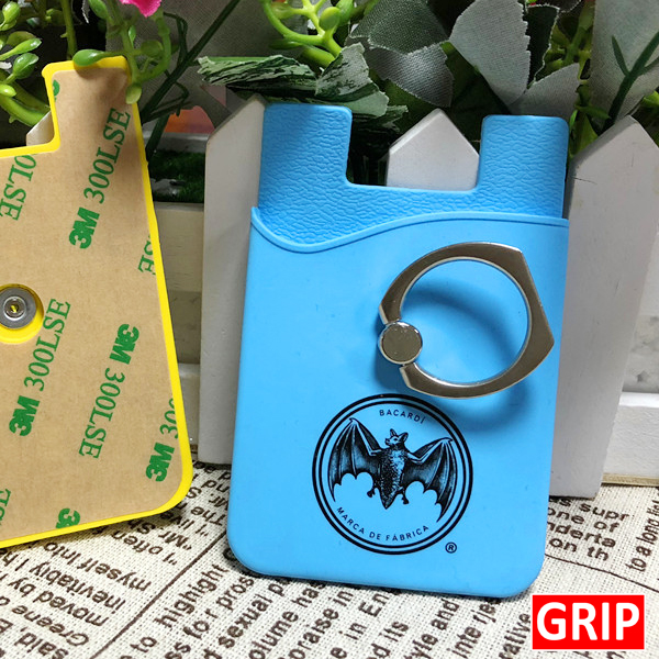 sky blue silicone card wallet with kickstand ring