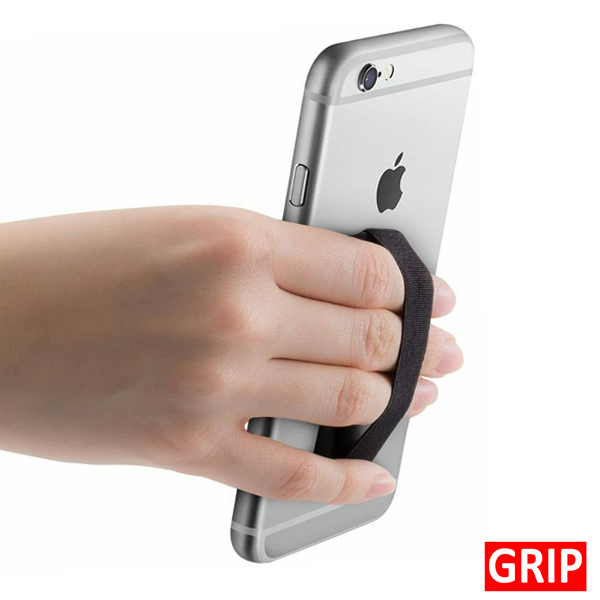 GRIP. Get Your Logo On a Black Sling Grip Phone Holder. Perfect for Trade Shows, B2b Marketing and Promotional products. Get Your Logo On It For Less. Call Toll Free 1-888-908-6932